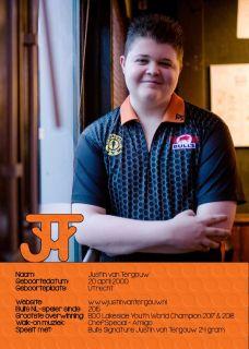 Justin van Tergouw Handtekening Kaartje 2018   Darts Warehouse