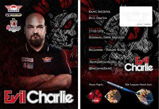 Karel Sedlacek Evil Charlie Signcard | Darts Warehouse
