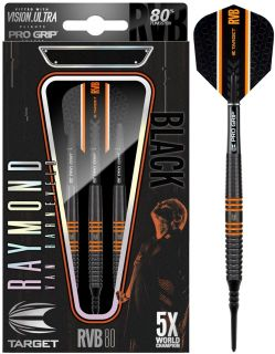 Softtip RVB80 Black Target Raymond van Barneveld 80% | Dartswarehouse