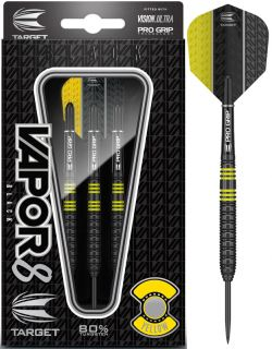 Vapor8 Black Yellow 80% | Target Dartpijlen | DartsWarehouse